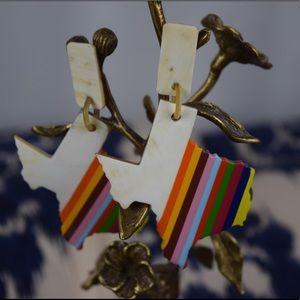 Texas Rainbow Bull Horn Earrings